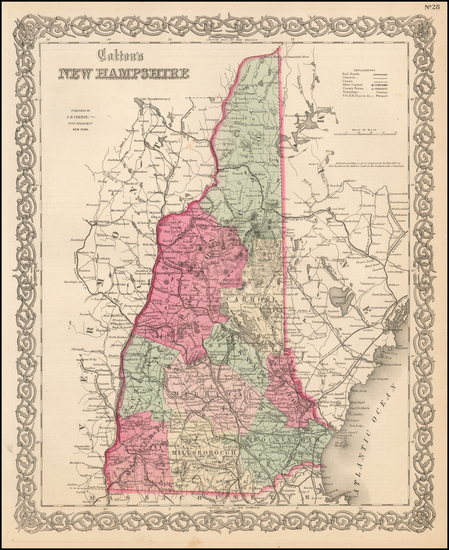 43-New Hampshire Map By Joseph Hutchins Colton