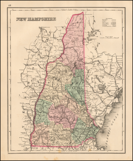 5-New Hampshire Map By O.W. Gray