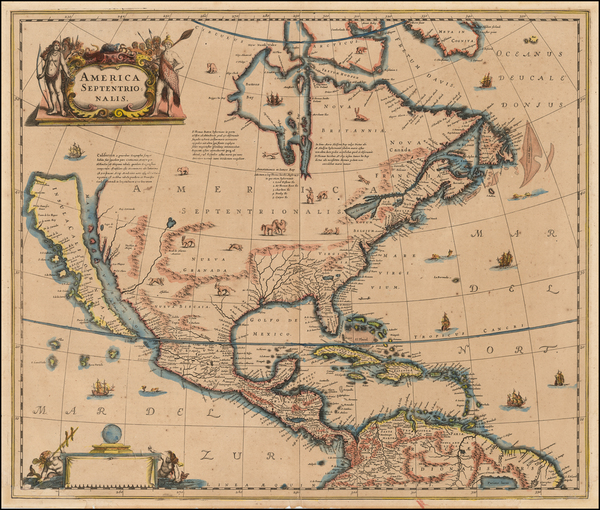 45-North America and California Map By Henricus Hondius / Jan Jansson