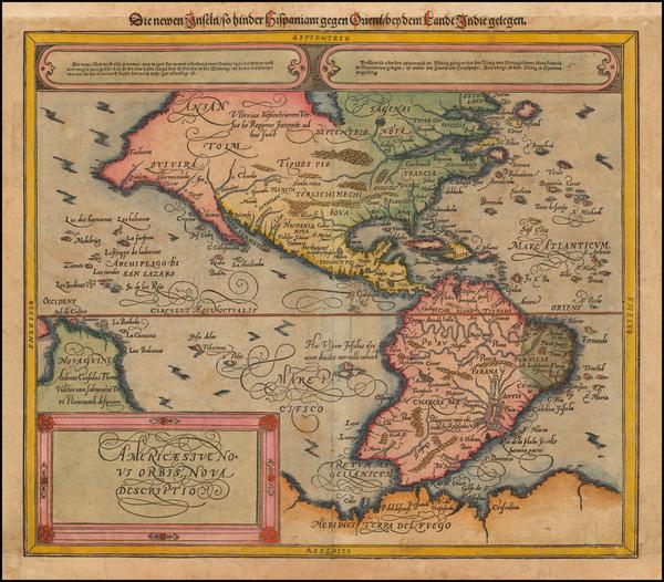 44-Western Hemisphere, South America and America Map By Sebastian Munster