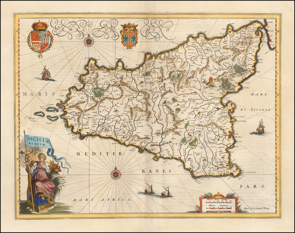 0-Sicily Map By Willem Janszoon Blaeu