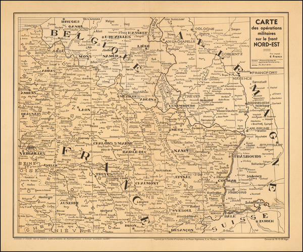 17-France and Germany Map By La Societe Nord Africaine De Photograveur