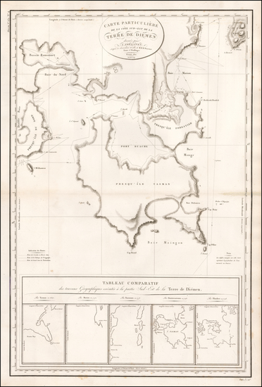 59-Australia Map By Louis Claude Desaulses de Freycinet