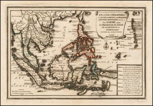 74-Southeast Asia and Philippines Map By Nicolas de Fer