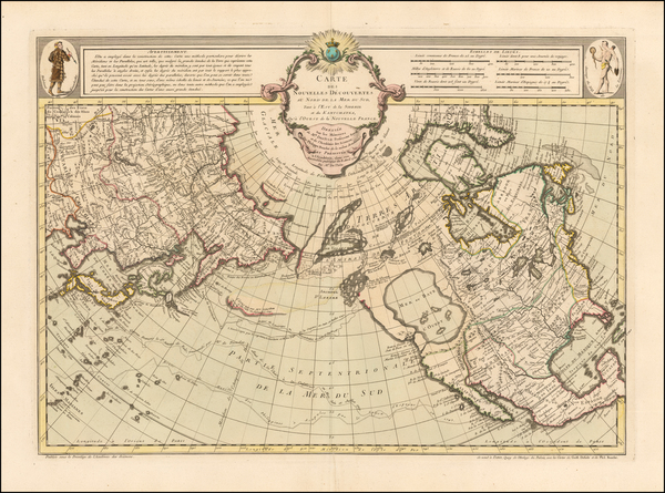 0-Alaska, North America, Canada, China, Japan, Pacific and Russia in Asia Map By Philippe Buache