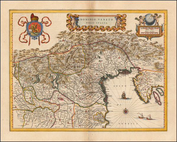 32-Croatia & Slovenia and Northern Italy Map By Willem Janszoon Blaeu