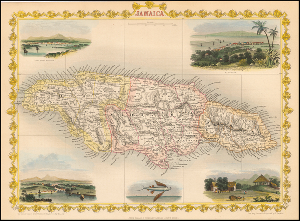 72-Jamaica Map By John Tallis