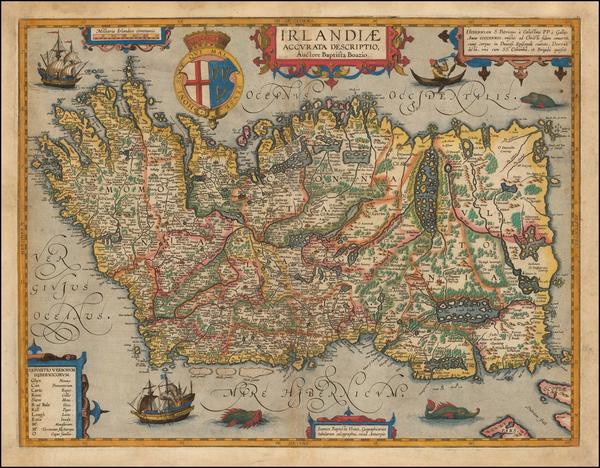 67-British Isles and Ireland Map By Abraham Ortelius / Johannes Baptista Vrients