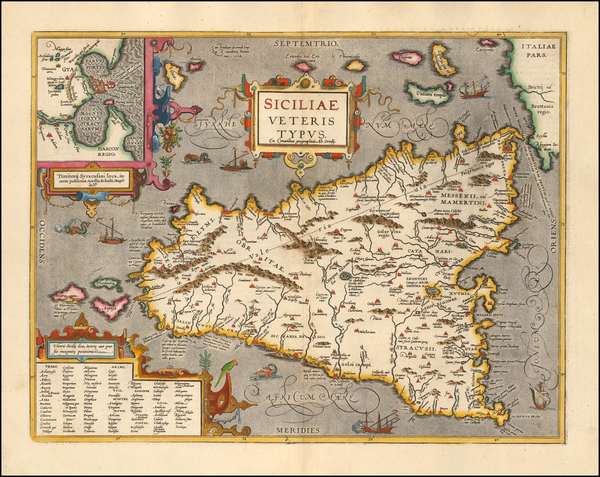 54-Sicily Map By Abraham Ortelius