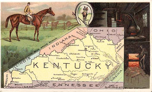 48-South and Kentucky Map By Arbuckle Brothers Coffee Co.
