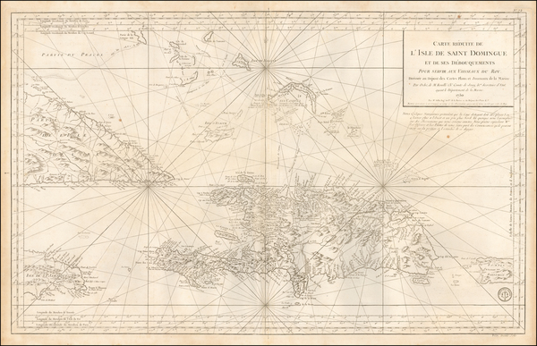 Cuba, Hispaniola, Puerto Rico and Bahamas Map By Depot de la Marine