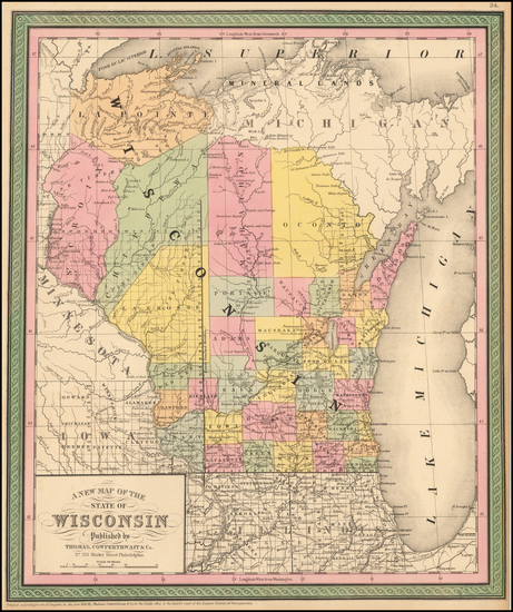 63-Wisconsin Map By Thomas, Cowperthwait & Co.