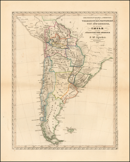 13-South America Map By Friedrich Wilhelm Spehr