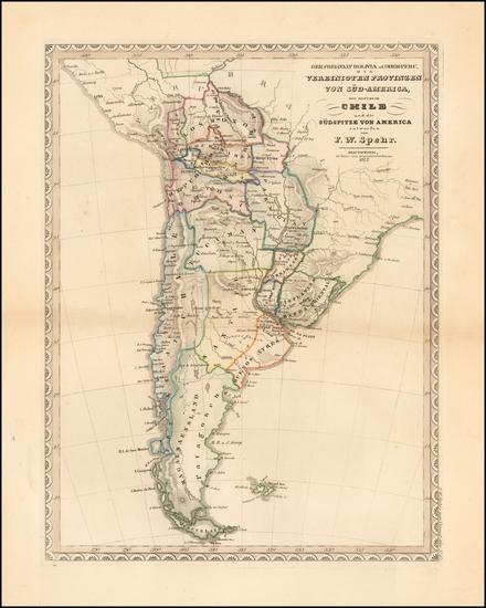 85-South America Map By Friedrich Wilhelm Spehr