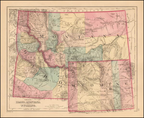 39-Idaho, Montana and Wyoming Map By O.W. Gray