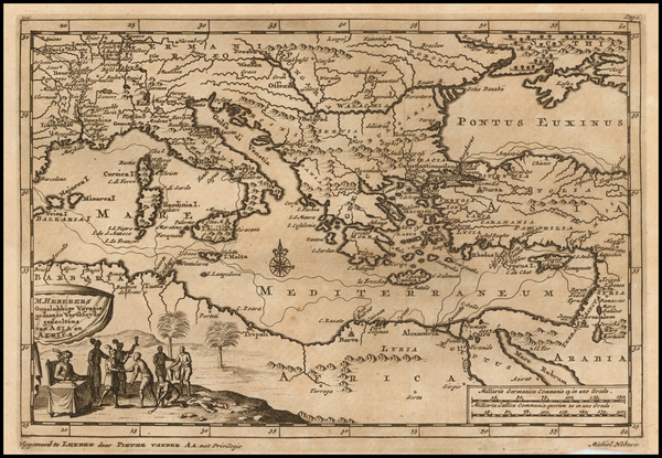 48-Turkey, Mediterranean, Turkey & Asia Minor and Greece Map By Pieter van der Aa
