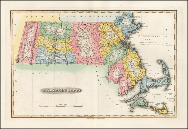 90-Massachusetts Map By Fielding Lucas Jr.