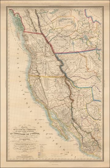 26-United States, Texas, Southwest, Rocky Mountains, Mexico and California Map By Eugene Duflot De