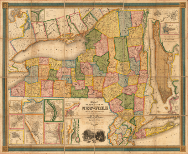 24-New York City and New York State Map By David Hugh Burr