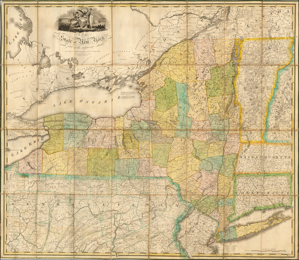 0-New York State Map By John H. Eddy