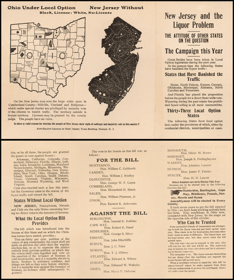 34-New Jersey Map By Anti-Saloon League of New Jersey