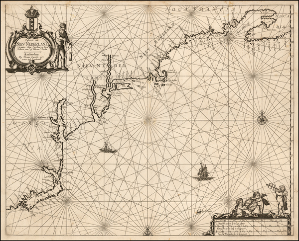 New England and Mid-Atlantic Map By Anthonie (Theunis)   Jacobsz