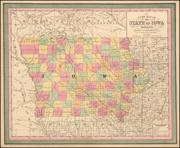 70-Iowa Map By Thomas, Cowperthwait & Co.