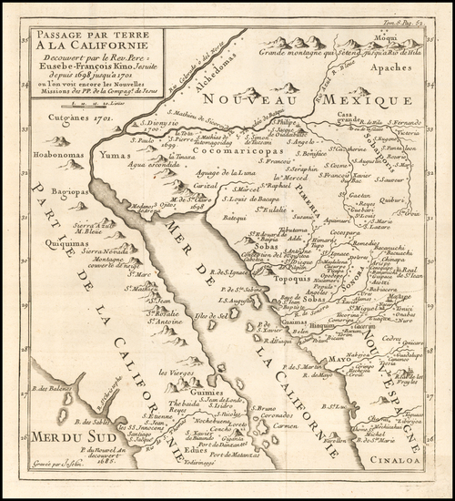 5-Southwest, Mexico, Baja California and California Map By Fr. Eusebio Kino / Inselin