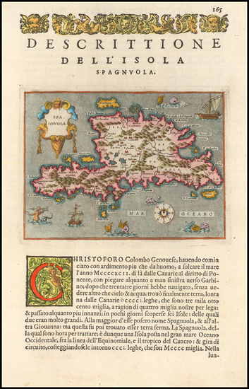 76-Caribbean Map By Tomasso Porcacchi