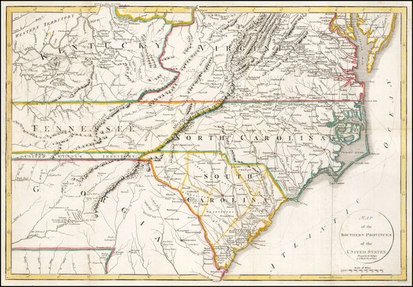 South, Southeast, North Carolina and South Carolina Map By John Russell / Richard Phillips