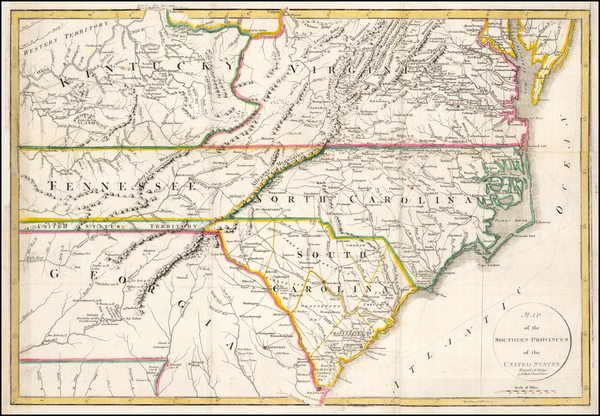 58-South, Southeast, North Carolina and South Carolina Map By John Russell / Richard Phillips