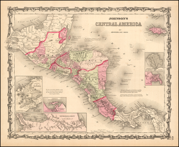 64-Central America Map By Benjamin P Ward  &  Alvin Jewett Johnson