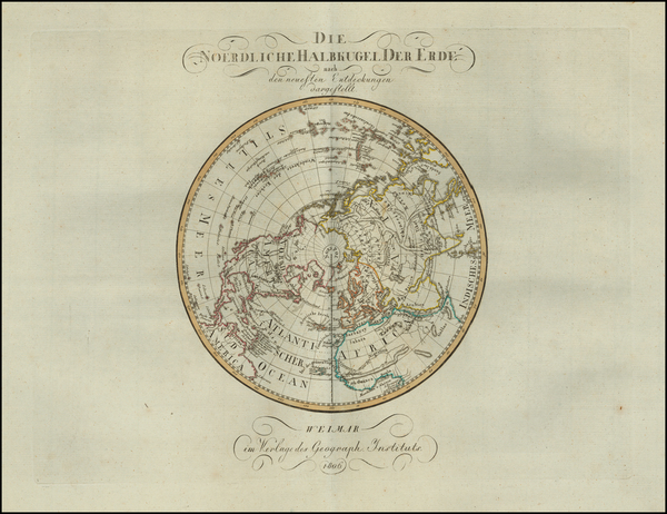55-Northern Hemisphere Map By Weimar Geographische Institut