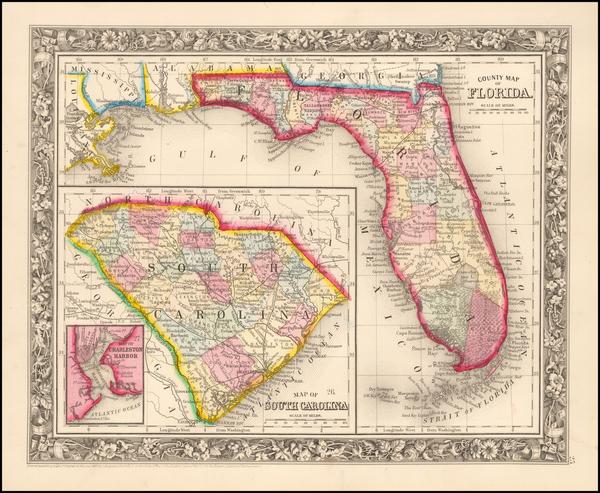50-Florida Map By Samuel Augustus Mitchell Jr.