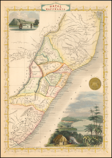 South Africa and East Africa Map By John Tallis