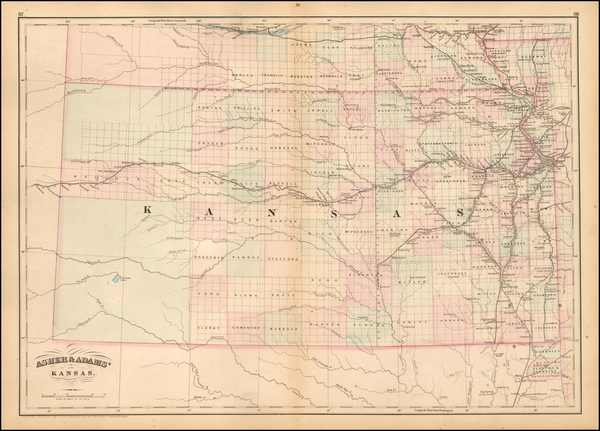 83-Midwest, Plains and Kansas Map By Asher  &  Adams