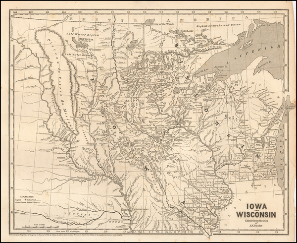 8-Minnesota, Wisconsin, Iowa, North Dakota and South Dakota Map By Sidney Morse  &  Samuel Br