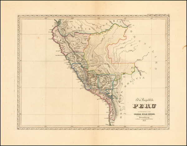 30-Chile, Brazil and Peru & Ecuador Map By Friedrich Wilhelm Spehr