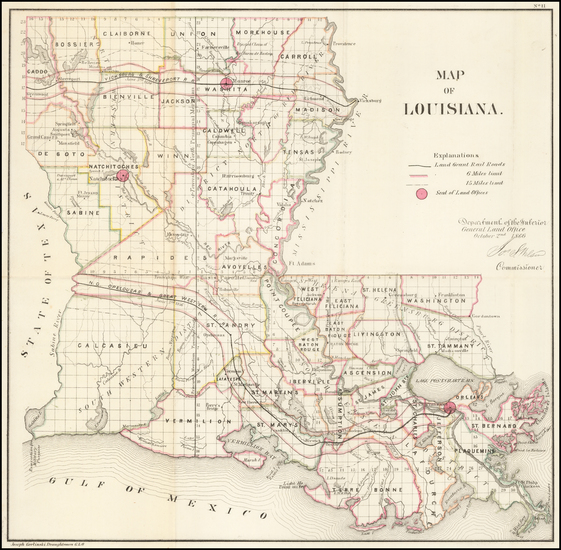 35-Louisiana Map By General Land Office