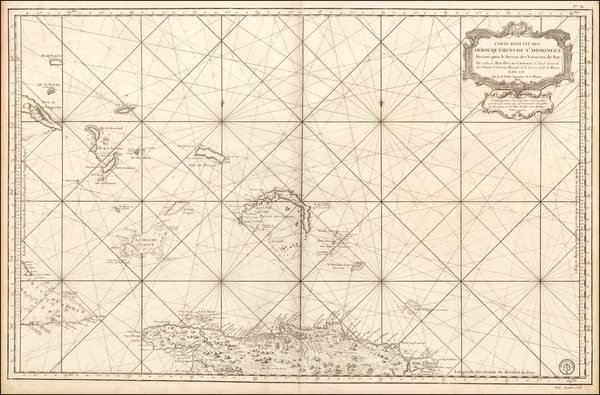 69-Hispaniola, Bahamas and Other Islands Map By Depot de la Marine