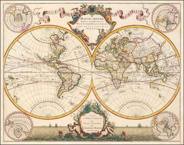 61-World Map By Johannes Covens  &  Cornelis Mortier