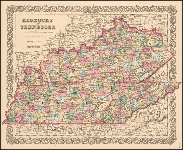 42-South, Kentucky and Tennessee Map By Joseph Hutchins Colton