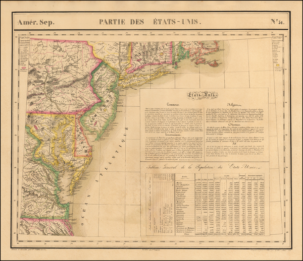 New England, Mid-Atlantic and Southeast Map By Philippe Marie Vandermaelen