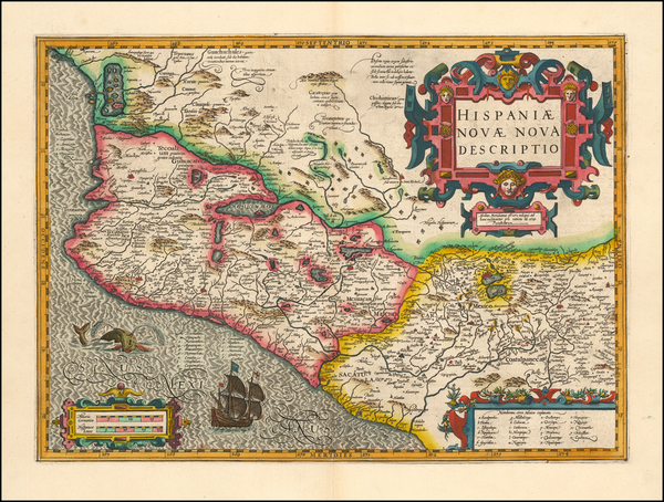 54-Mexico Map By Jodocus Hondius / Gerhard Mercator