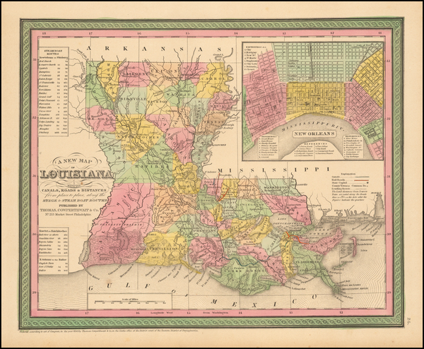 56-South, Louisiana and New Orleans Map By Thomas Cowperthwait & Co.