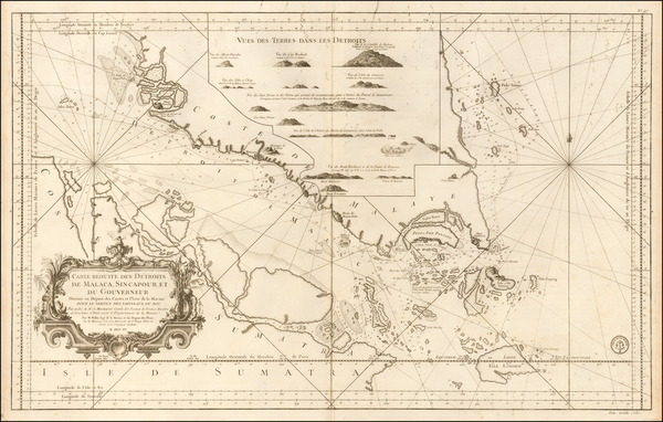 85-Singapore and Malaysia Map By Jacques Nicolas Bellin / Depot de la Marine
