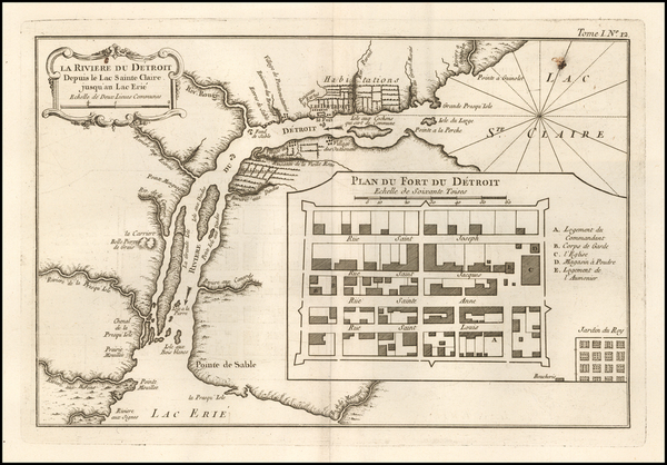 26-Michigan Map By Jacques Nicolas Bellin