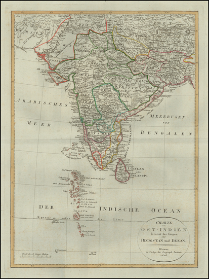 31-India Map By Weimar Geographische Institut