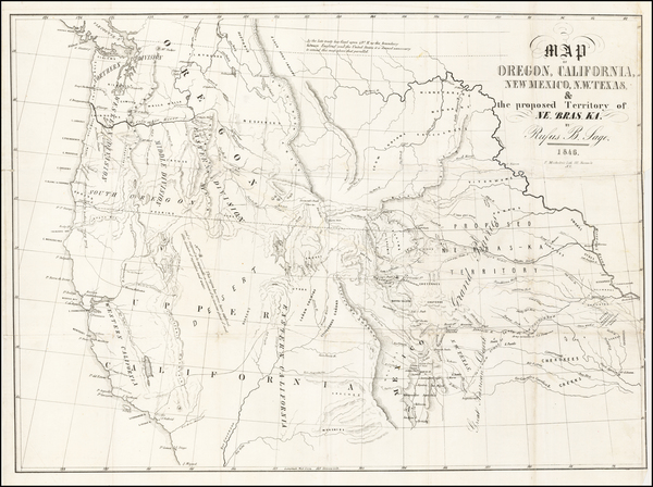 Texas, Plains, Nebraska, Southwest, Rocky Mountains, Oregon, Washington and California Map By Rufus Sage