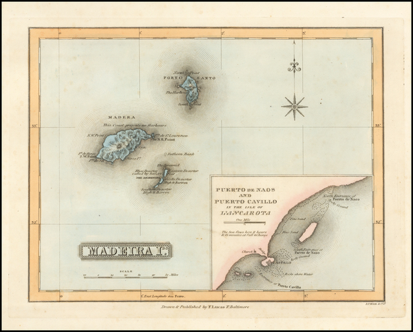 Atlantic Ocean and Portugal Map By Fielding Lucas Jr.